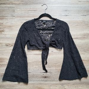 Low-V Crop Top with Bell Sleeves
